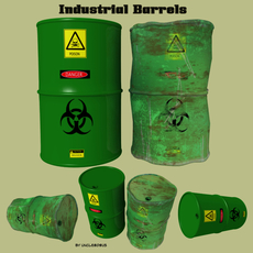 Industrial Barrels FBX and OBJ 3D Model