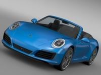 Porsche 911 Carrera 4 Cabriolet 991 2016 3D Model