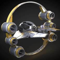 Jedi Starfighter Eta-2 with Hyperdrive Booster Ring 3D Model
