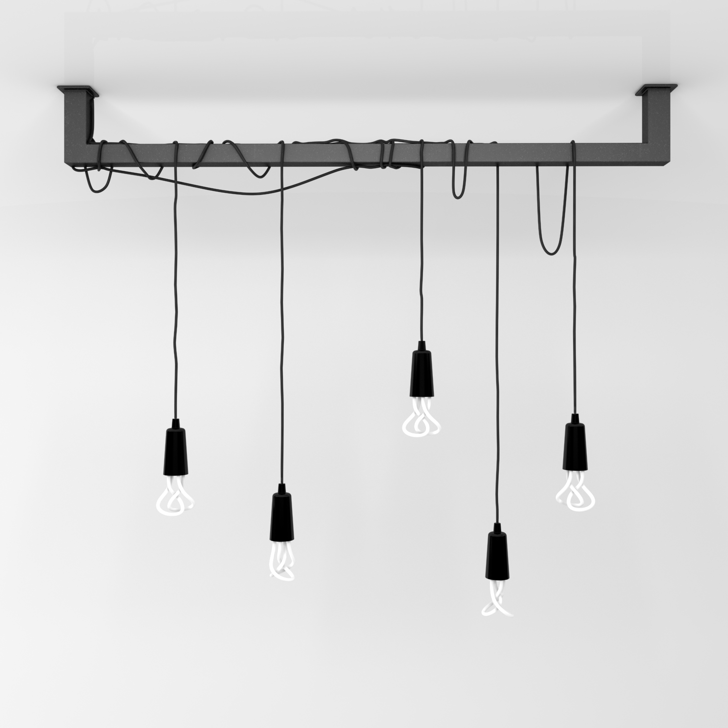 Pendant Light Cable: Cable Bar Pendant Light With Original Plumen 001 3D Model