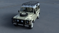 Land Rover Defender 110 Station Wagon w interior HDRI 3D Model