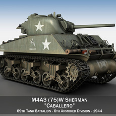 M4A3 75mm - Sherman - Caballero 3D Model