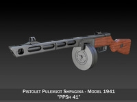 PPSh-41 - Soviet Submachine Gun 3D Model