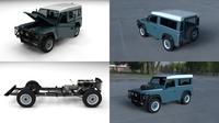 Full Land Rover Defender 90 Station Wagon HDRI 3D Model