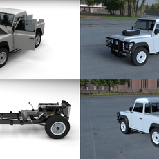Full Land Rover Defender 90 Pick Up HDRI 3D Model