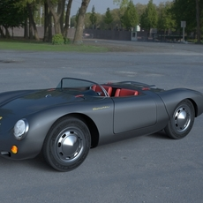 Porsche 550 Spyder gray HDRI 3D Model