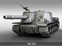 ISU-152 Soviet heavy self-propelled gun 3D Model