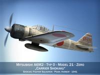 Mitsubishi A6M2 Zero - Carrier Shokaku 3D Model