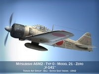 Mitsubishi A6M2 Zero - Tainan Air Group 3D Model