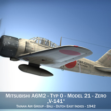 Mitsubishi A6M2 Zero - Tainan Air Group 3D Model