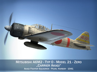 Mitsubishi A6M2 Zero - Carrier Akagi 3D Model