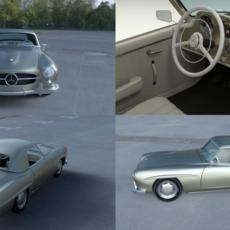 Mercedes 190SL with Interior Hard Top 3D Model