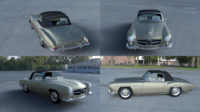 Mercedes 190SL with Interior Soft Top 3D Model