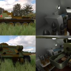 SU 100 with Interior Camo HDRI 3D Model