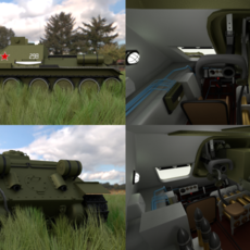 SU 100 with Interior HDRI 3D Model