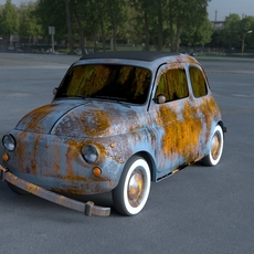 Fiat 500 Nuova 1957 rusty HDRI 3D Model