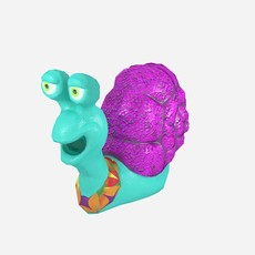 Cartoonish low-poly snail 3D Model