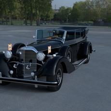 Mercedes 770k Grosser Nazi Staff Car HDRI 3D Model