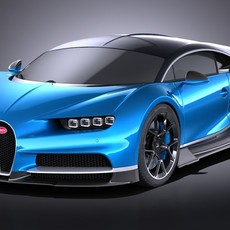 Bugatti Chiron 2017 without interior 3D Model