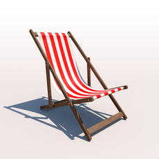 Deck Chair - Red 3D Model
