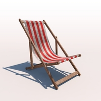 Deck Chair - Red - Weathered 3D Model