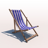 Deck Chair - Blue - Weathered 3D Model