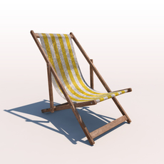 Deck Chair - Yellow - Weathered 3D Model