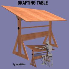 Drafting Table FBX + OBJ 3D Model