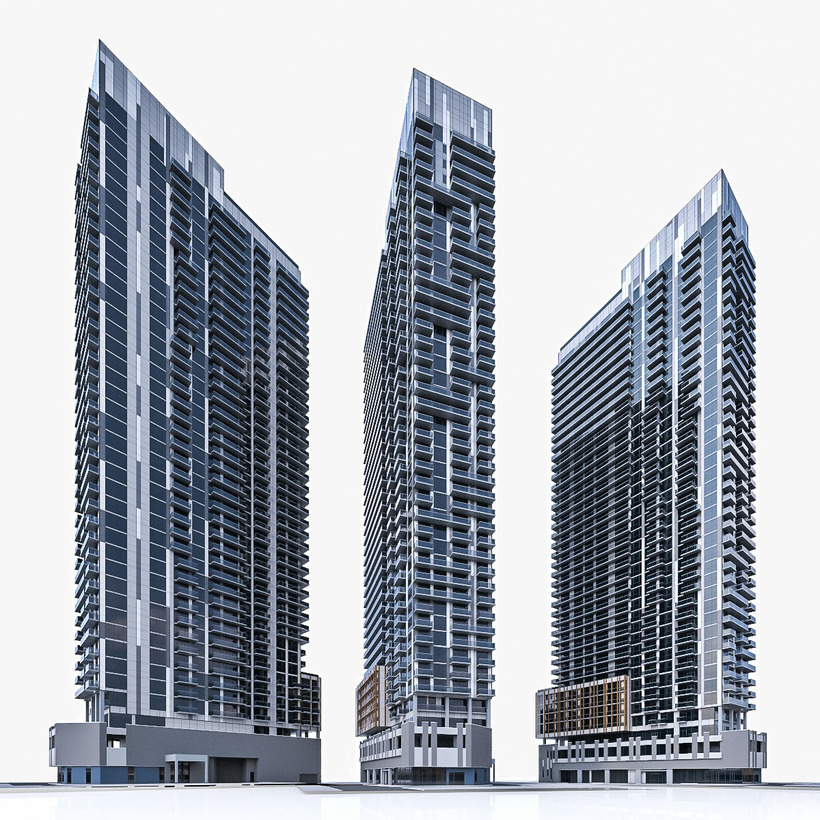 Modern high rise residential building 3d model for Modern high rise building design
