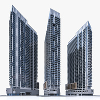 Modern High-rise Residential Building 3D Model