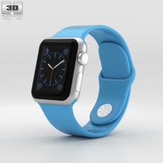 Apple Watch Sport 38mm Silver Aluminum Case Blue Band 3D Model