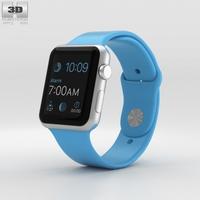 Apple Watch Sport 42mm Silver Aluminum Case Blue Band 3D Model