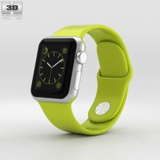 Apple Watch Sport 38mm Silver Aluminum Case Green Sport Band 3D Model