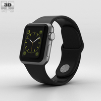 Apple Watch Sport 38mm Gray Aluminum Case Black Sport Band 3D Model