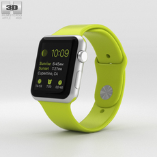 Apple Watch Sport 42mm Silver Aluminum Case Green Sport Band 3D Model