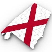 Alabama Political Map 3D Model