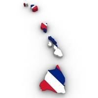 Hawaii Political Map 3D Model