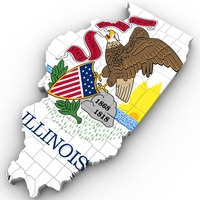 Illinois Political Map 3D Model