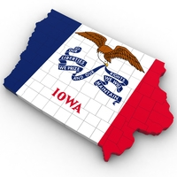 Iowa Political Map 3D Model