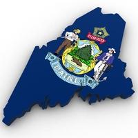 Maine Political Map 3D Model