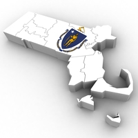 Massachusetts Political Map 3D Model