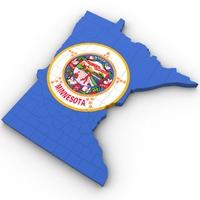 Minnesota Political Map 3D Model
