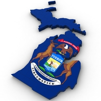 Michigan Political Map 3D Model
