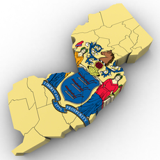 New Jersey Political Map 3D Model