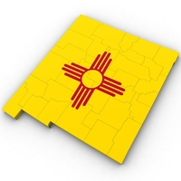 New Mexico Political Map 3D Model