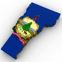 Vermont Political Map 3D Model