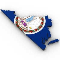 Virginia Political Map 3D Model