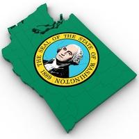 Washington Political Map 3D Model