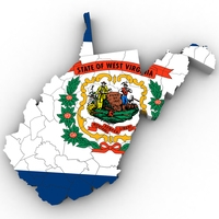 West Virginia Political Map 3D Model