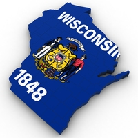 Wisconsin Political Map 3D Model